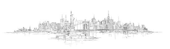 Vectorhand die panoramisch de stadssilhouet trekken van New York Royalty-vrije Illustratie