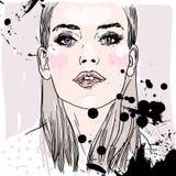 Vectorhand geschilderde schets, manierillustratie met model Royalty-vrije Stock Fotografie
