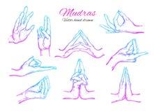Vectorhand getrokken die reeks mudras op wit wordt geïsoleerd yoga spirituality stock illustratie
