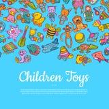 Vectorhand getrokken gekleurde kinderen of jong geitjespeelgoedillustratie vector illustratie