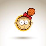 Vectorhand getrokken gelukkig meisje met modieus kapsel gezichts Stock Foto's