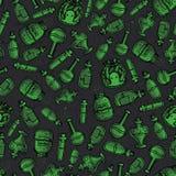 Vectorhand getrokken groen witchy flessen naadloos patroon stock illustratie