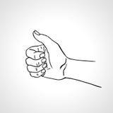 Vectorhand getrokken hand met omhoog duim, zoals teken, goedkeuringsgebaar Stock Foto's