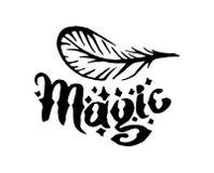 Vectorhand getrokken Heks en de magische illustratie van het veerpunt op witte achtergrond stock illustratie
