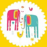 Vectorhand getrokken illustratie met kooi colorfull olifanten Stock Foto's