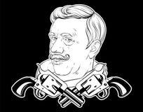 Vectorhand getrokken illustratie van de oude mens met snor en ge?soleerde kanonnen royalty-vrije illustratie