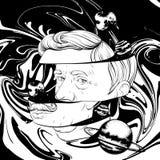 Vectorhand getrokken illustratie van de oude mens met snor en ge?soleerde planeten vector illustratie