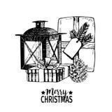 Vectorhand getrokken illustratie van giftpakketten, kegel en lantaarn Kerstmis gegraveerde kunstdecoratie vector illustratie