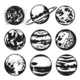Vectorhand getrokken illustratie van planeten vector illustratie