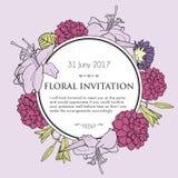 Vectorhand getrokken illustratie van romantische bloemen Stock Afbeelding