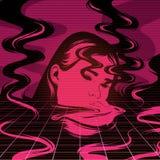 Vectorhand getrokken illustratie van smeltend meisje met rook stock illustratie