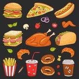 Vectorhand getrokken illustratie van snel voedsel Stock Afbeeldingen