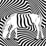 Vectorhand getrokken illustratie van surreal paard met optische illusie royalty-vrije illustratie