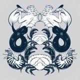Vectorhand getrokken illustratie van triton, weekdier Nautilus, krab vector illustratie