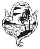Vectorhand getrokken illustratie van tropisch landschap met golven in kader royalty-vrije illustratie