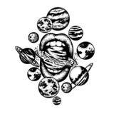 Vectorhand getrokken illustratie van vrouwen` s mond met planeten, zon en maan royalty-vrije illustratie