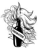 Vectorhand getrokken illustratie van `-Vuurwater ` met bloemen en lint Royalty-vrije Stock Fotografie