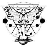 Vectorhand getrokken illustratie van yogi met insect en geïsoleerde planeten vector illustratie