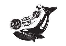 Vectorhand getrokken illustrationof walvis en planeten vector illustratie