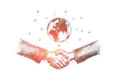 Vectorhand getrokken Internationale bedrijfsconceptenschets vector illustratie