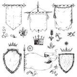 Vectorhand getrokken inzameling van heraldische malplaatjes: schild, vlag royalty-vrije stock afbeelding