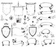 Vectorhand getrokken inzameling van heraldische malplaatjes: schild, vlag stock fotografie