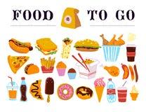 Vectorhand getrokken inzameling van snel voedsel om te gaan - koffie, hotdog, sandwich, hamburger, wok, kip, gebraden gerechten e stock illustratie