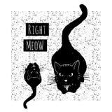 Vectorhand getrokken kaart met leuke zwarte katten  stock illustratie
