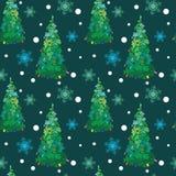 Vectorhand Getrokken Kerstbomen met Ornamenten Stock Afbeelding