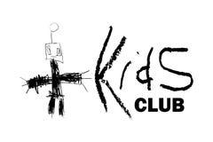 Vectorhand getrokken kinderlijke robottekening voor het embleem van de jonge geitjesclub, zuigelingsgebeurtenis, de affiche van d royalty-vrije illustratie