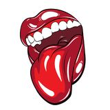 Vectorhand getrokken kleurrijke illustratie van mond met tong royalty-vrije illustratie