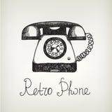 Vectorhand getrokken krabbel retro telefoon Stock Foto