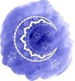 Vectorhand getrokken maan en sterren op waterverfachtergrond Stock Foto