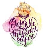 Vectorhand getrokken met inkt besmeurde harten met mooie brieven Stock Afbeeldingen