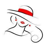 Vectorhand getrokken mooie die dame in hoedenportret op witte achtergrond wordt geïsoleerd vector illustratie
