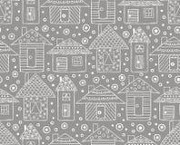 Vectorhand getrokken naadloos patroon, de decoratieve gestileerde kinderachtige stijl van de de tekeningskrabbel van de huizenlij stock illustratie