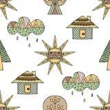 Vectorhand getrokken naadloos patroon, decoratief gestileerd kinderachtig huis, boom, zon, wolk, de stijl van de regenkrabbel, gr Stock Afbeelding