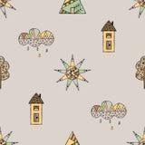 Vectorhand getrokken naadloos patroon, decoratief gestileerd kinderachtig huis, boom, zon, wolk, de stijl van de regenkrabbel, gr Royalty-vrije Stock Foto's