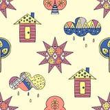 Vectorhand getrokken naadloos patroon, decoratief gestileerd kinderachtig huis, boom, zon, wolk, de stijl van de regenkrabbel, gr Stock Fotografie