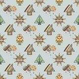 Vectorhand getrokken naadloos patroon, decoratief gestileerd kinderachtig huis, boom, zon, wolk, de stijl van de regenkrabbel, gr Stock Foto