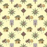 Vectorhand getrokken naadloos patroon, decoratief gestileerd kinderachtig huis, boom, zon, wolk, de stijl van de regenkrabbel, gr Stock Foto's