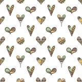 Vectorhand getrokken naadloos patroon, decoratieve gestileerde kinderachtige harten Krabbelstijl, stammen grafische drawi van de  vector illustratie