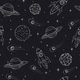 Vectorhand getrokken naadloos patroon met Jupiter, Mars, Saturn, de planeten van Neptunus, maan en vliegende raketten stock illustratie