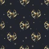 Vectorhand getrokken naadloos patroon met weelderige gouden bogen Stock Afbeeldingen