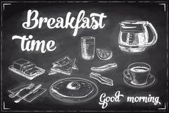 Vectorhand getrokken ontbijt en takachtergrond Stock Afbeelding