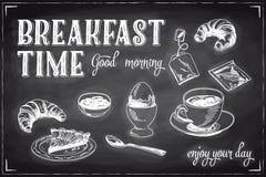 Vectorhand getrokken ontbijt en takachtergrond Stock Afbeeldingen