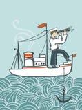 Vectorhand getrokken overzeese affiche met schip, golven en zeeman Stock Foto's