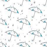 Vectorhand getrokken paraplu en regendalingenpatroon stock illustratie