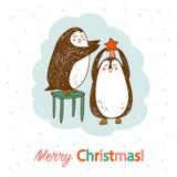Vectorhand getrokken prentbriefkaar met twee leuke pinguïnen royalty-vrije illustratie