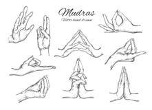 Vectorhand getrokken reeks Indische mudras yoga vector illustratie